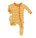 KICKEE PANTS Fuzzy Bee Ducks Muffin Ruffle Footie