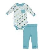 KICKEE PANTS Boy Dino Print Long Sleeve Pocket Outfit Set