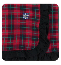 KICKEE PANTS Plaid Ruffle Stroller Blanket