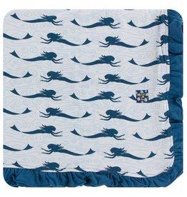 KICKEE PANTS Natural Mermaid Ruffle Toddler Blanket