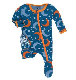 KICKEE PANTS Twilight Moon & Stars Footie w/ Zipper