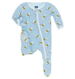 KICKEE PANTS Pond Bees Footie w/ Zipper