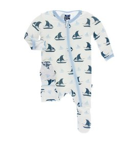 KICKEE PANTS Natural Sailboat Footie w/ Zipper