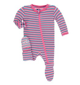 KICKEE PANTS Flamingo Anniversary Stripe Footie w/ Zipper