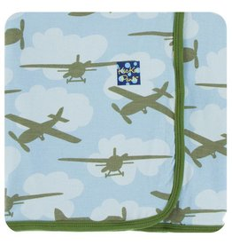 KICKEE PANTS Pond Airplane Swaddling Blanket