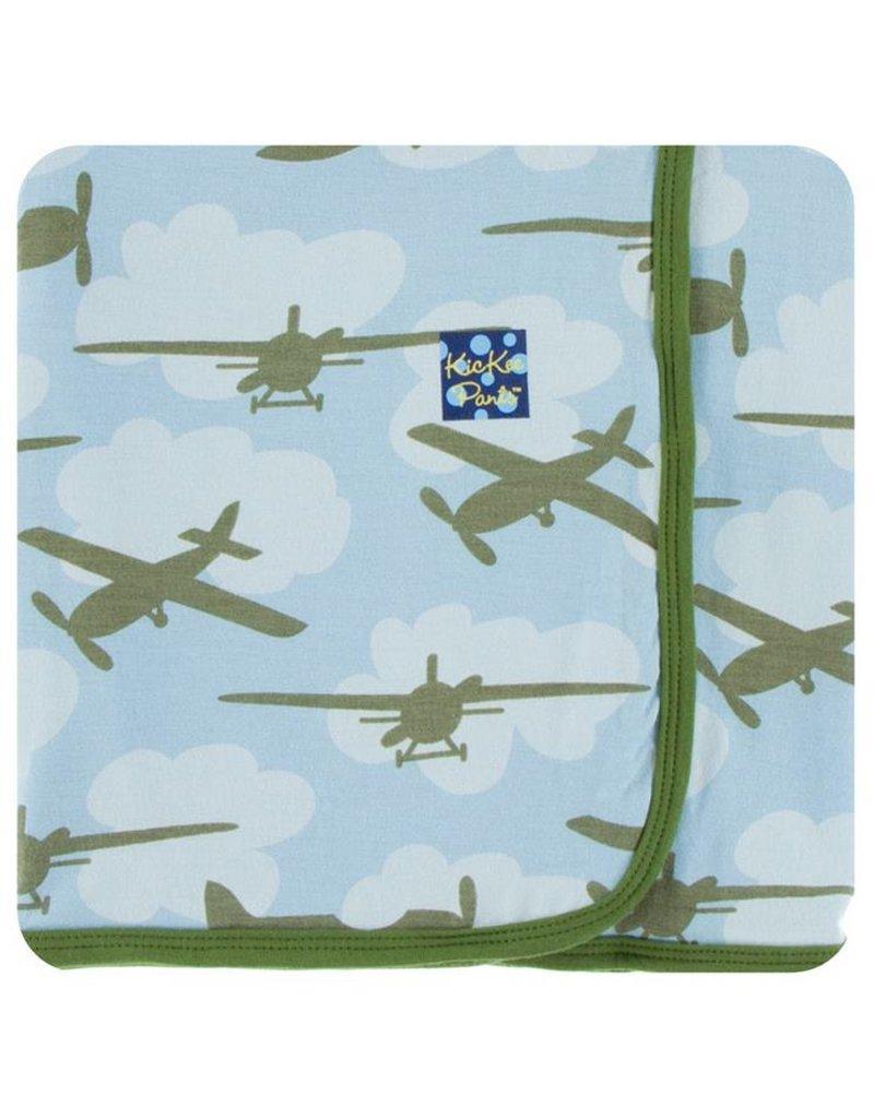 KICKEE PANTS Pond Airplane Swaddling Blanket