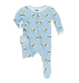 KICKEE PANTS Pond Bees Footie with Snaps