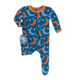 KICKEE PANTS Twilight Moon & Stars Footie with Snaps