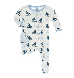 KICKEE PANTS Natural Sailboat Footie with Snaps