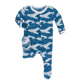 KICKEE PANTS Twilight Whale Footie with Snaps