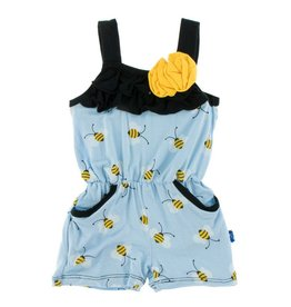 KICKEE PANTS Pond Bees Romper with Pockets