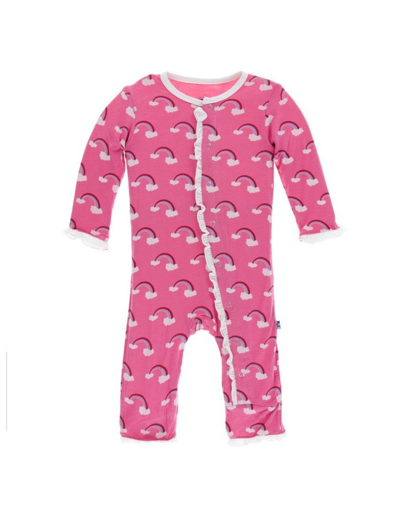 KICKEE PANTS Flamingo Rainbow Classic Layette Ruffle Coverall with Snaps