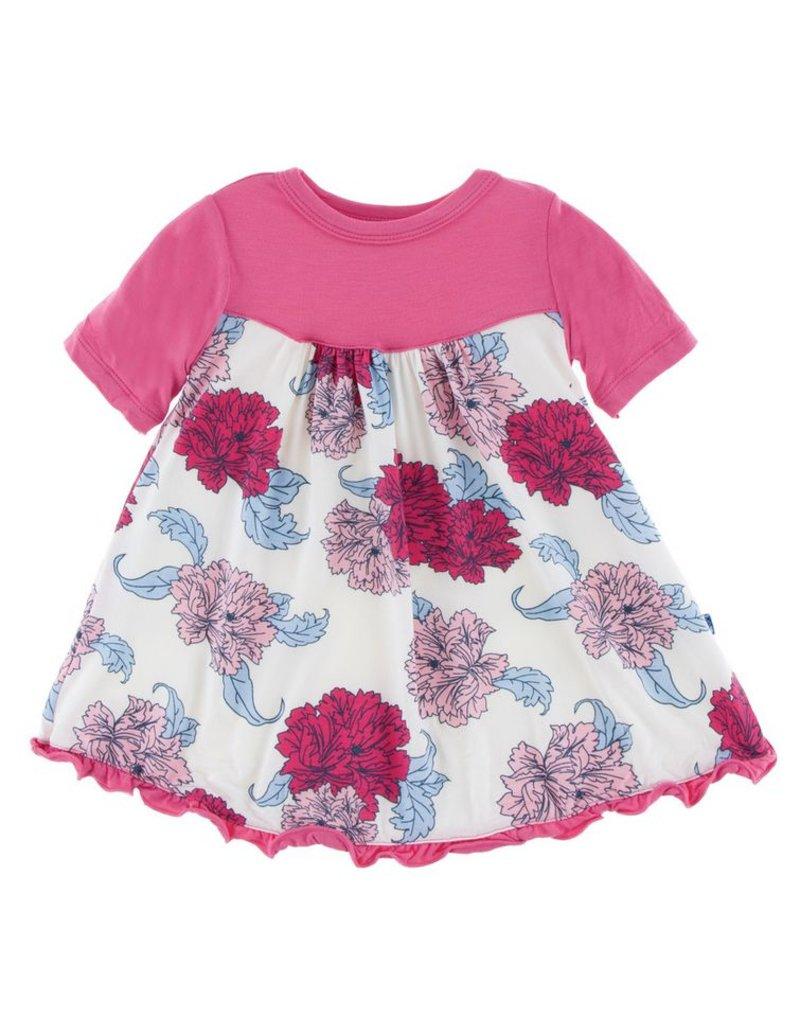 KICKEE PANTS Natural Peony Short Sleeve Swing Dress