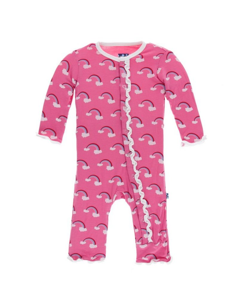 KICKEE PANTS Flamingo Rainbow Muffin Ruffle Coverall with Snaps