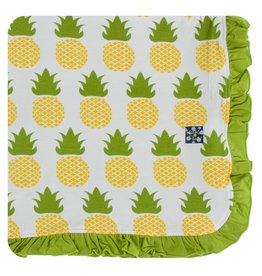 KICKEE PANTS Natural Pineapple Ruffle Toddler Blanket