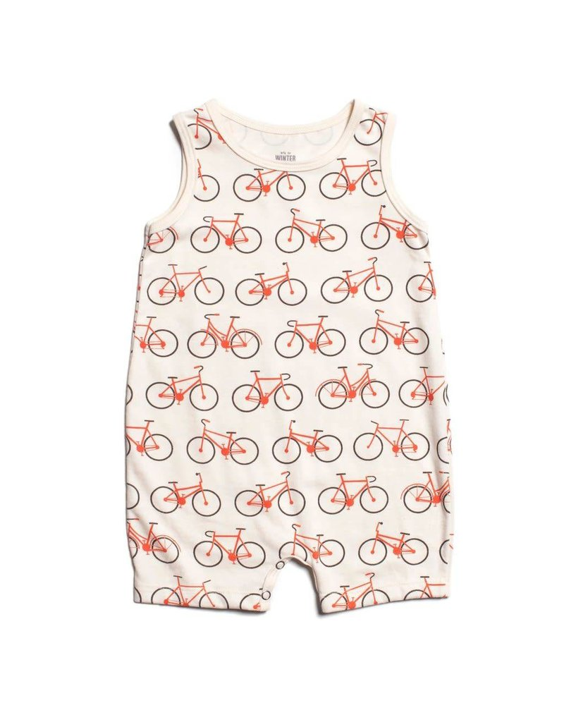 WINTER WATER FACTORY Tank-Top Romper - Bicycles Orange