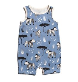 WINTER WATER FACTORY Tank-Top Romper - Zebras Blue