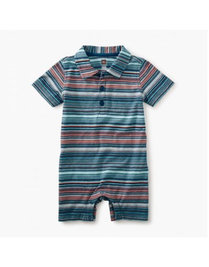 TEA COLLECTION Tea Pagoda Blue Striped Polo Romper
