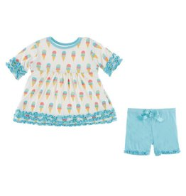 KICKEE PANTS Natural Ice Cream Short Sleeve Babydoll Outfit