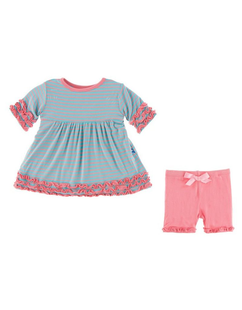 EcoBambino: Strawberry Stripe Short Sleeve Babydoll Outfit - EcoBambino