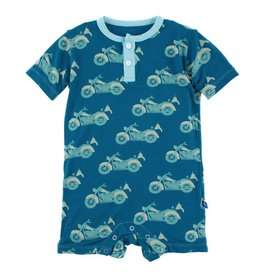KICKEE PANTS Heritage Blue Motorcycle Short Sleeve Henley Romper