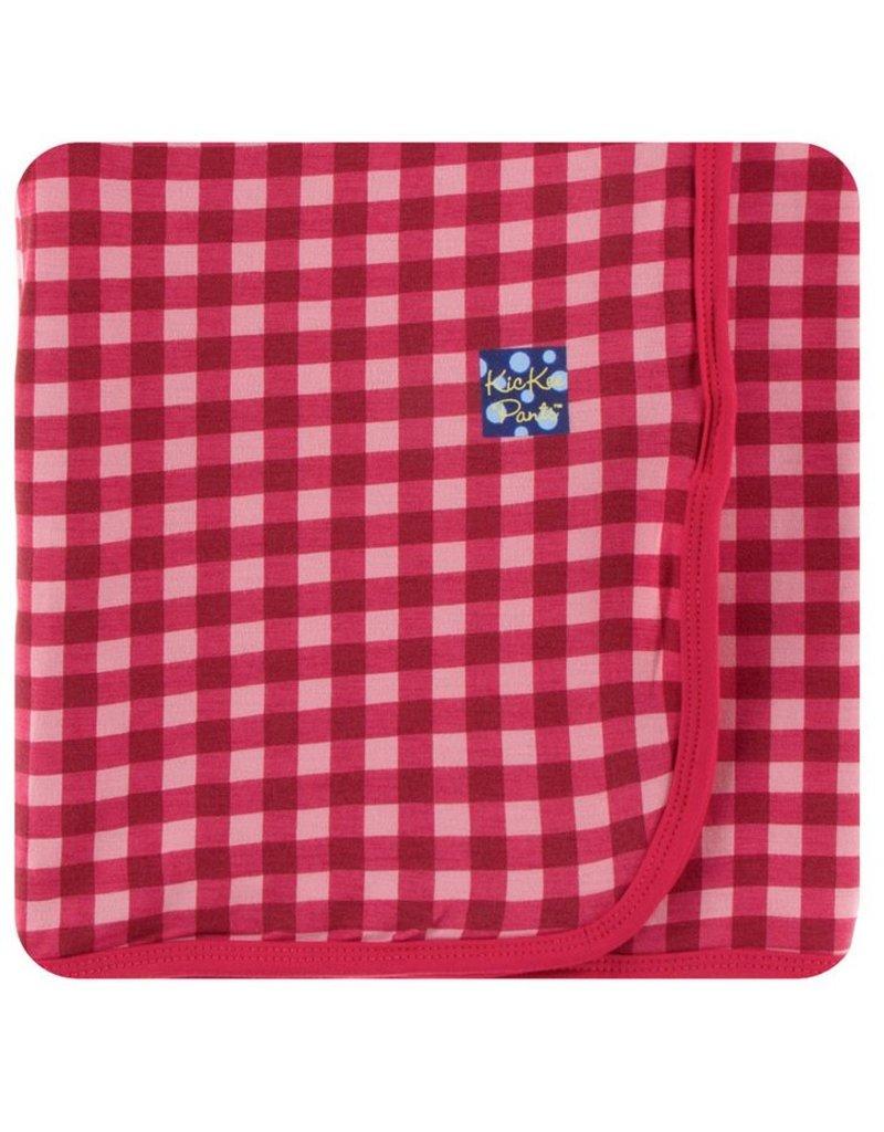 KICKEE PANTS Flag Red Gingham Swaddling Blanket