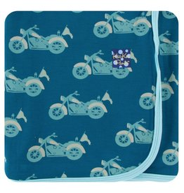KICKEE PANTS Heritage Blue Motorcycle Swaddling Blanket