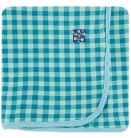 KICKEE PANTS Pistachio Gingham Swaddling Blanket