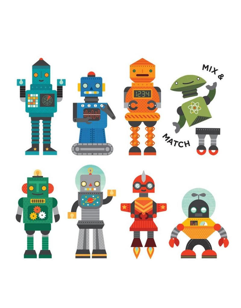 PETIT COLLAGE On-The-Go Magnetic Play Set: Robot Remix
