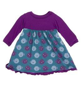 KICKEE PANTS Seagrass Puffer Long Sleeve Swing Dress