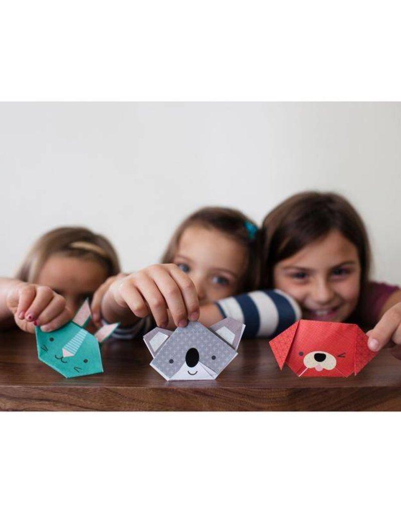 PETIT COLLAGE Animal Faces Origami Fun Craft & Color