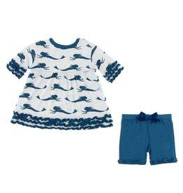 KICKEE PANTS Natural Mermaid Short Sleeve Babydoll Outfit