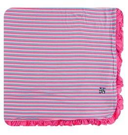 KICKEE PANTS Flamingo Anniversary Stripe Ruffle Toddler Blanket