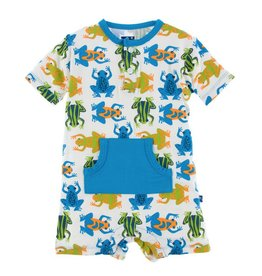 KICKEE PANTS Amazon Frogs Kangaroo Romper