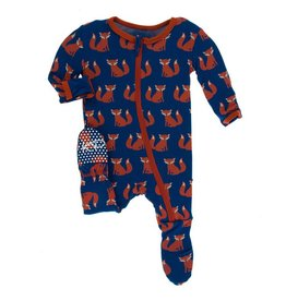 KICKEE PANTS Navy Fox Footie w/ Zipper