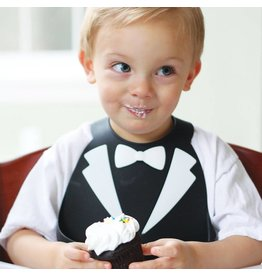 MAKE MY DAY Black Tuxedo Silicone Baby Bib