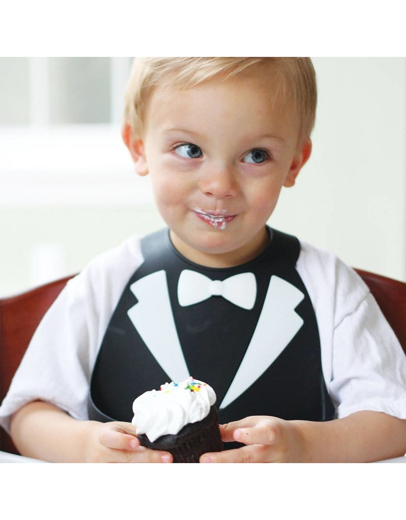 MAKE MY DAY Black Tuxedo Silicone Baby Bib