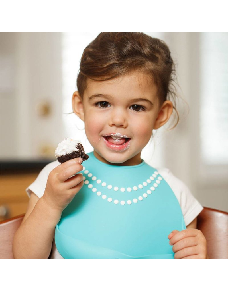 MAKE MY DAY Tiffany Blue with Pearls Silicone Baby Bib