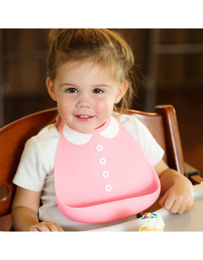 MAKE MY DAY Peter Pan Collar Pink Silicone Baby Bib