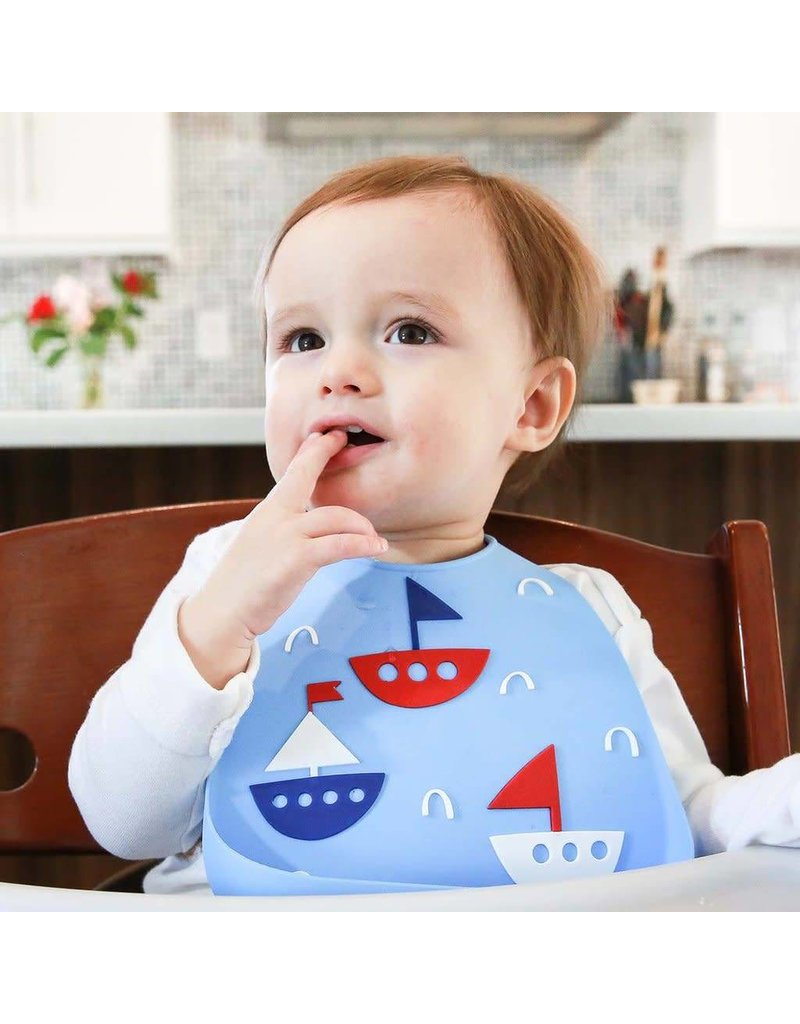 MAKE MY DAY Sailboats Silicone Baby Bib