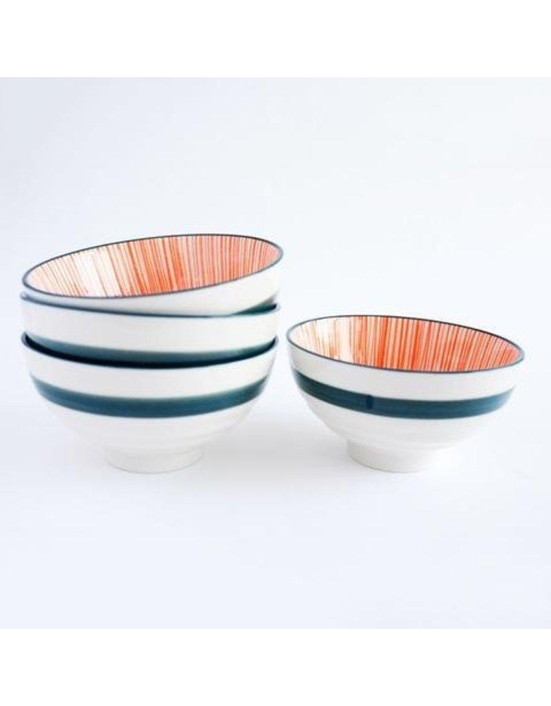 Caravan Caravan Urchin Orange/Navy Bowls - Set of 4