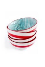 Caravan Caravan Urchin Turquoise/Red Bowls - Set of 4
