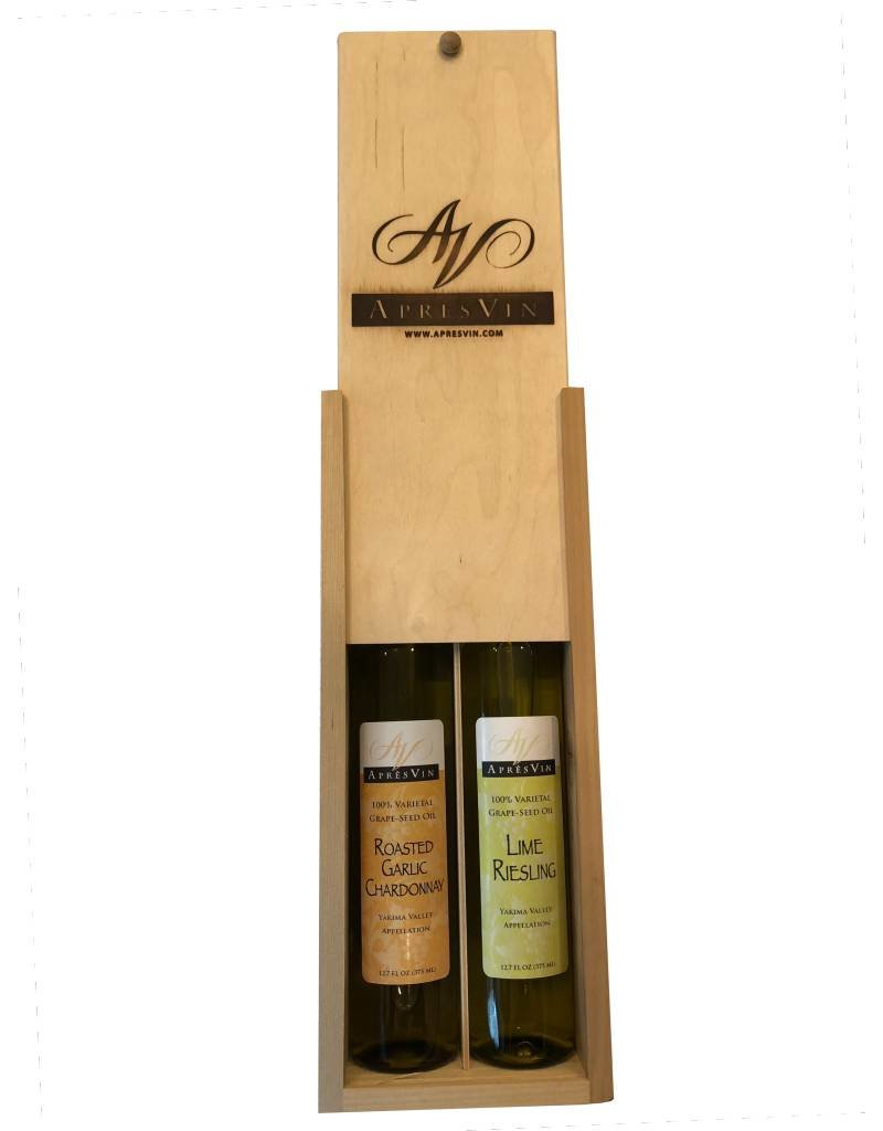ApresVin Apres Vin Favorites Gift Pack in Wooden Box - Roasted Garlic Chardonnay and Lime Riesling Grape Seed Oils