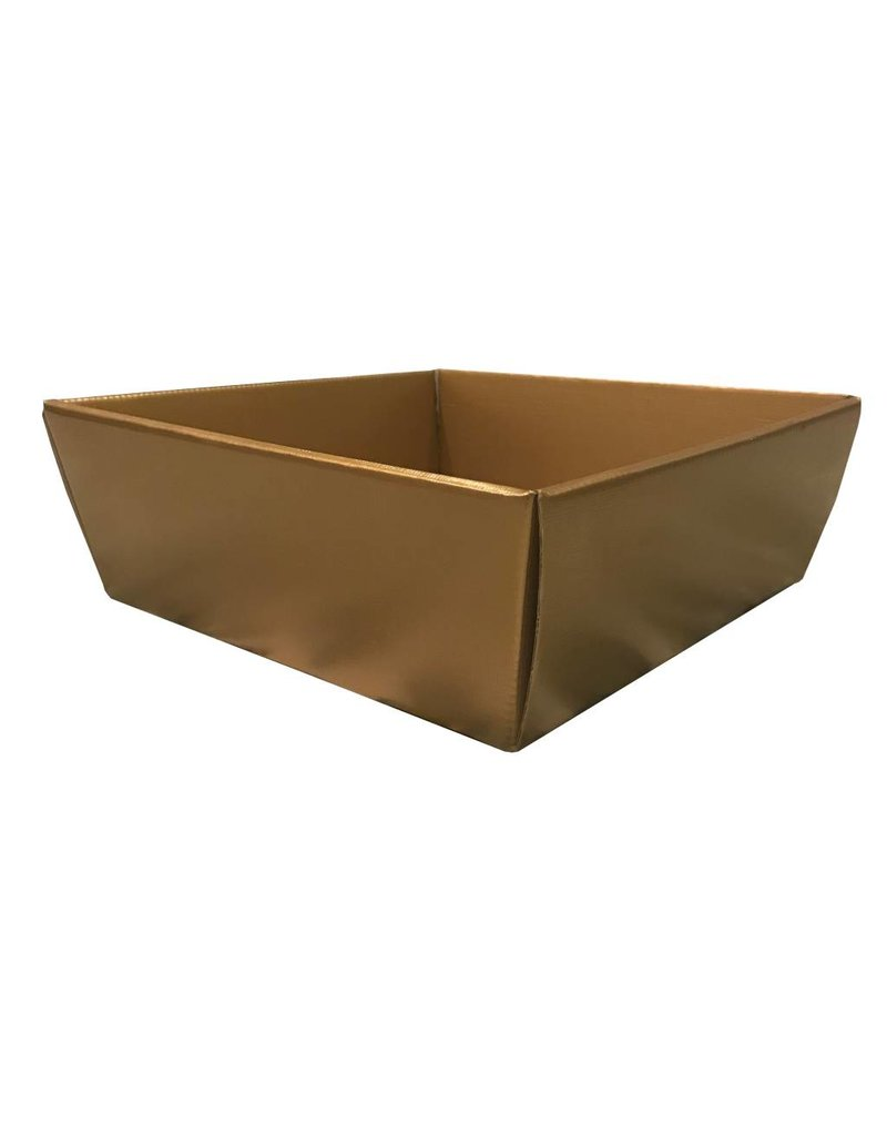 Ribbed box gold 26x26x10cm