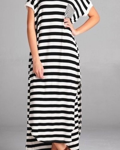 Stripe Print Maxi Dress