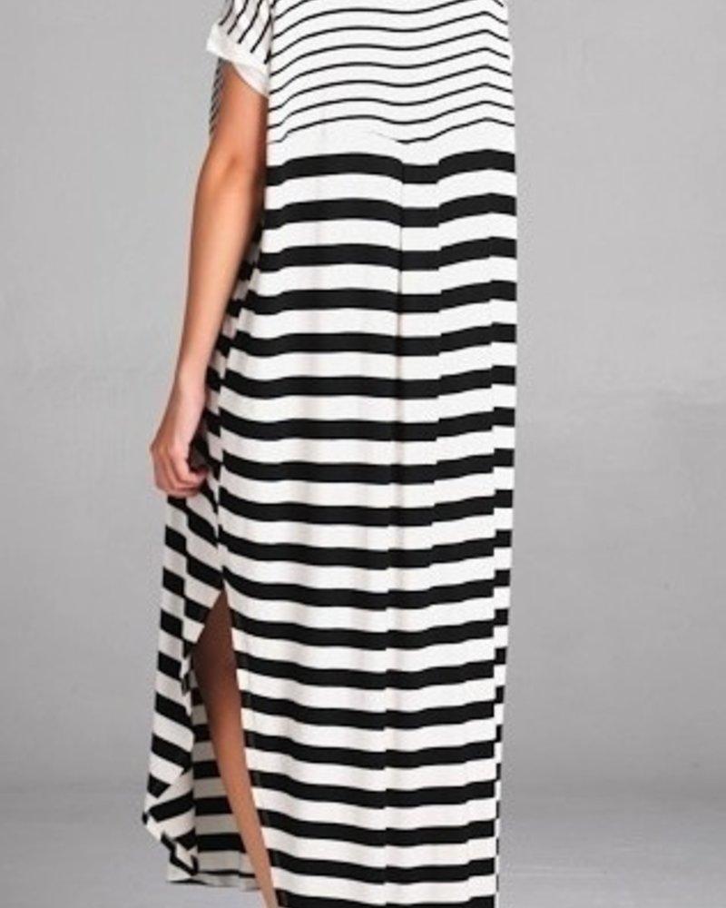 S/S Stripe Print Maxi Dress