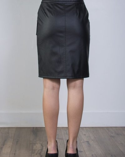 Faux Leather Pocketed Skirt