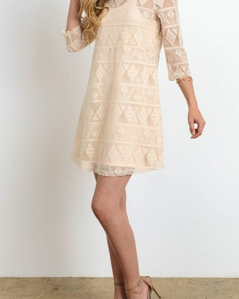 3/4 Slv all over lace dress