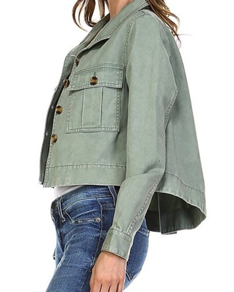 Solid Cropped Jacket