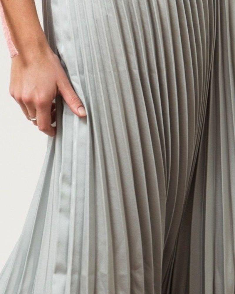 Satin Pleat Midi Skirt